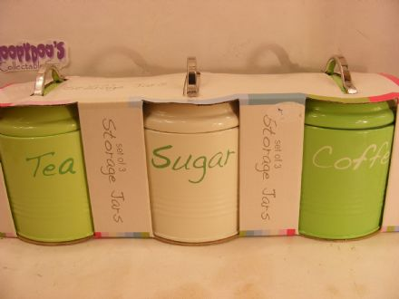 BNIB SET OF 3 GREEN AND CREAM KITCHEN CANISTERS - COFFEE,TEA,SUGAR